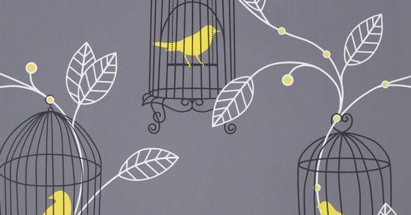 Arthouse Opera Aviary Grey Yellow Birds Room Ideas