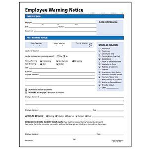 Socrates Employee Warning Notice Form 11 X 8 1 2 50 Per Pack