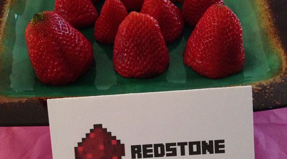 Minecraft Party Redstone Food Sign Tent and Topper Labels for Birthday Party