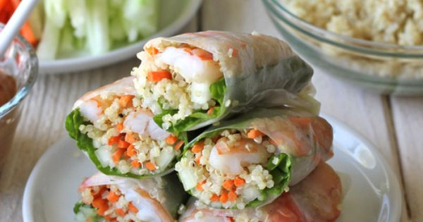 Roasted Shrimp Quinoa Spring Rolls Ingredients: 12 (16-cm) rice paper wrappers Green