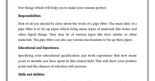 pipefitter resume download is here to help you by providing you pipefitter sample resume please visit sample resume downloadcom pinterest