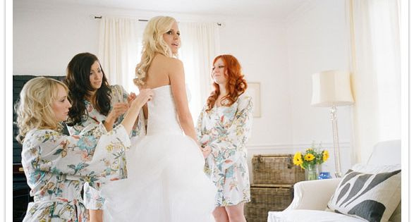 Matching robes for the bridal party= lovely pre-wedding photos.