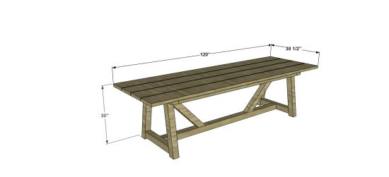 Diy knock off of a 4000 restoration hardware 10 ft picnic for 10 ft picnic table