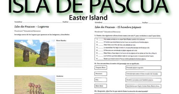 easter island reading worksheets spanish teacher resources 16 pages with 3 different. Black Bedroom Furniture Sets. Home Design Ideas