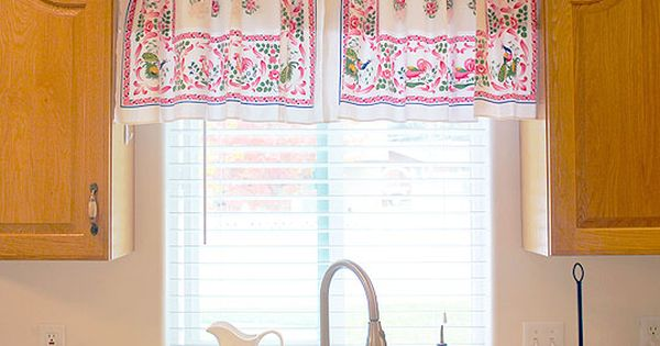 vintage linens as curtains