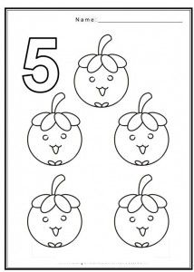 Free Coloring Pages Of Numbers With Fruits Matematika