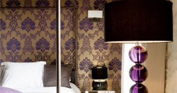 Beautiful Modern, Rustic Bedroom. Absolutely love the purple lamp and wall paper.