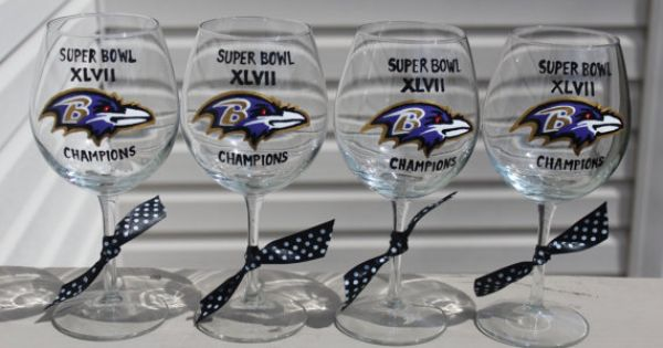 Baltimore ravens superbowl champions wine glass by for Baltimore glassware decorators