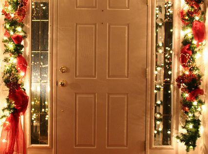 Front door inside during the Holidays! I love indoor Christmas lights :-)