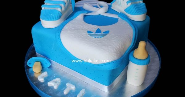Adidas Blue And White Square Baby Shower Cake Bbkakes