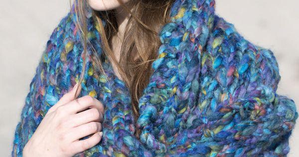 Knitting Pattern Using Chunky Yarn : DMC knitting pattern using Aurora yarn/ Chunky scarf shawl Knit Pinterest...