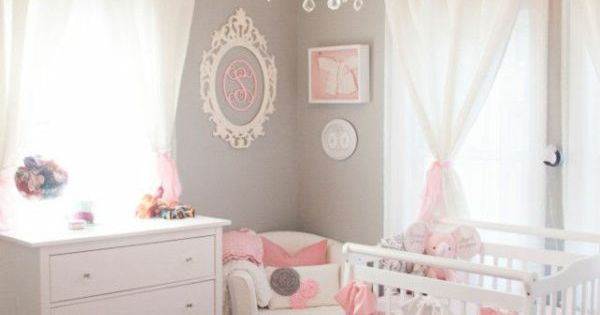 wandfarbe hellgrau gardinen rosa babyzimmer ideas for the house pinterest kleine m dchen. Black Bedroom Furniture Sets. Home Design Ideas