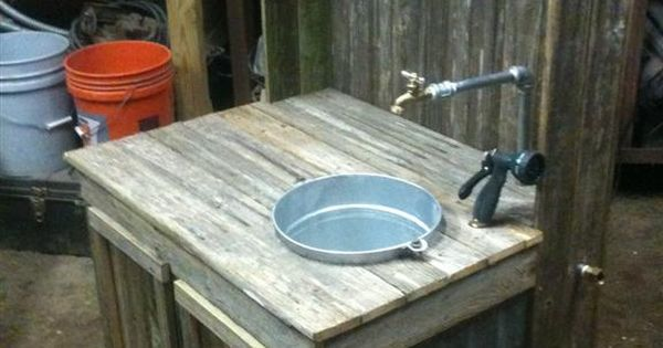 Outdoor Potting Bench Cabinet Hooks Up To A Water Hose