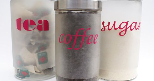 Set of 3 bright pink vinyl kitchen canister labels coffee sugar tea by ruffianathome ruffian - Pink tea and coffee canisters ...