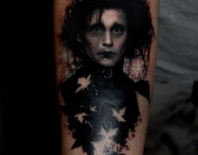 Edward Scissorhands portrait tattoo, and how amazing.