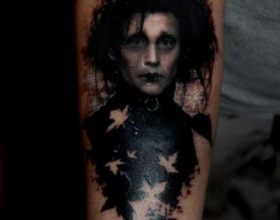 Edward Scissorhands portrait tattoo, and how amazing.