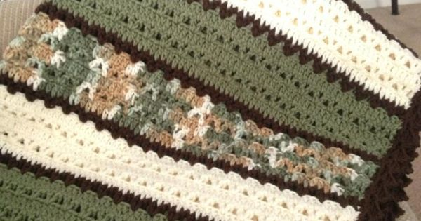 Green White And Brown Blanket In Double Crochet And V