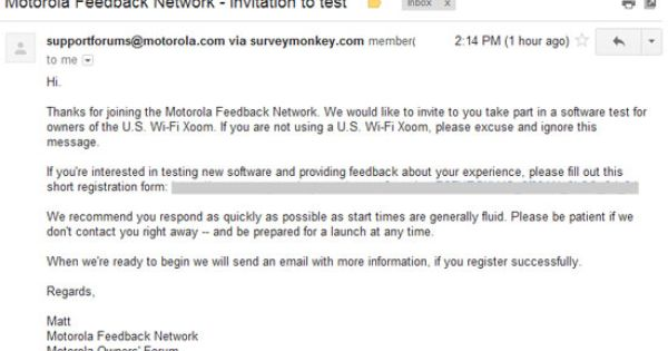 Motorola Has Sent Out The Soak Test Invitations To Members Of The