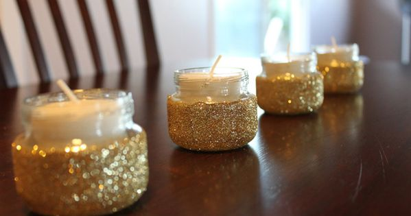 diy glitter candle holder's from baby food jars. :) exactly what I