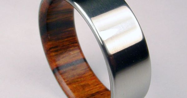 Rosewood and Titanium ring - wedding band