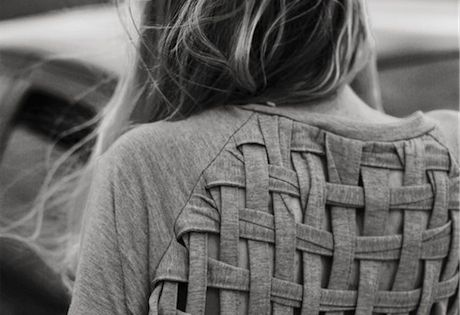 cut and weave the back of a shirt - cool idea for