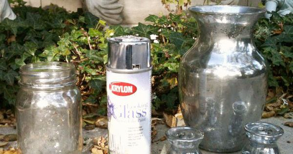 Katies Rose Cottage: Mercury Glass Family Fun, using Krylon spray paint for