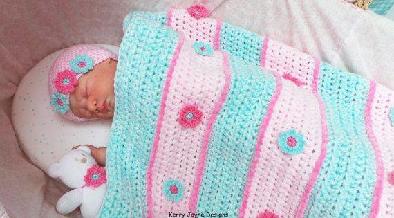 Daisy Crochet Baby Hat Pattern : Crochet Pattern - DAISY STRIPES - Blanket and hat set ...