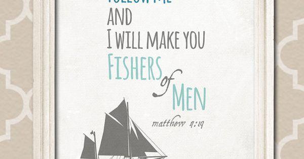 Printable Nursery Wall Art, Scripture Quote Bible Verse, fishers of men, matthew