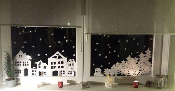 Fensterbild winterlandschaft zum ausdrucken weihnachten - Winterlandschaft dekoration ...
