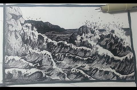 Pen Amp Ink Drawing Tutorials How To Draw A Seascape With