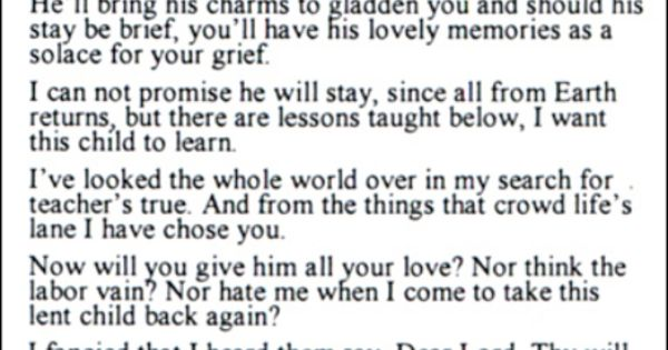 My sister gave me this when my son passed away . I still have the ...