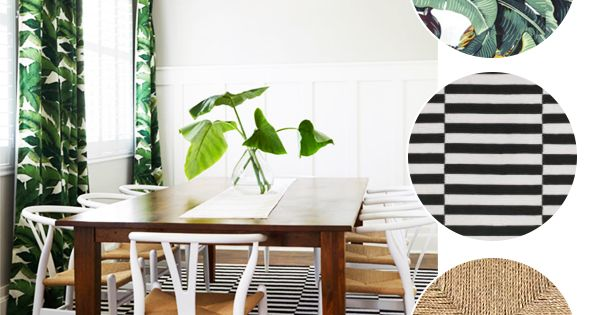 dining room banana leaf with stripes and wovens  inspirations  Pinterest