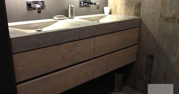 Badkamermeubel steigerhout en beton badkamermeubel van hout en beton pinterest kasten - Badkamer meubel model ...