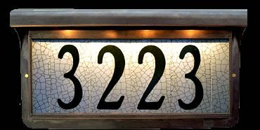 Illuminated Address Tiles In Bronze Frame Estate Outdoor Pillar