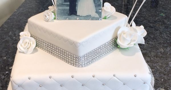 Diamond anniversary cake with photo made with edible ...