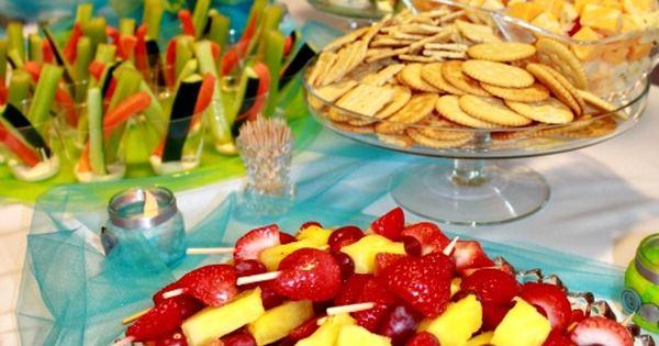 Nice baby shower ideas (or other party too). Veggie sticks in cup