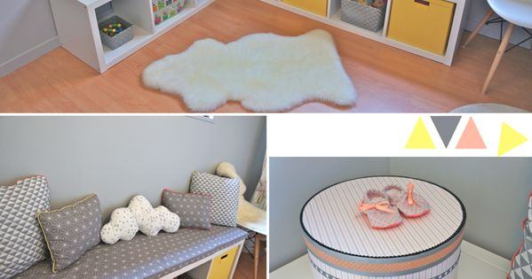 Nursery baby girl room in yellow grey coral chambre for Chambre bebe 13 degres