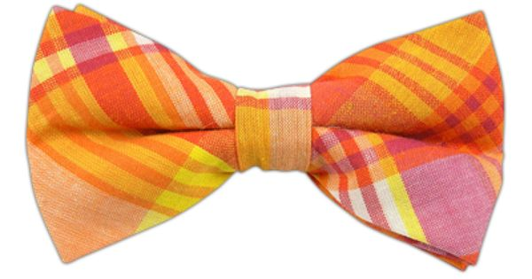 Powered Madras - Yellow/Orange (Cotton Bow Ties) - Powered Madras - Yellow/Orange (Cotton Bow Ties)