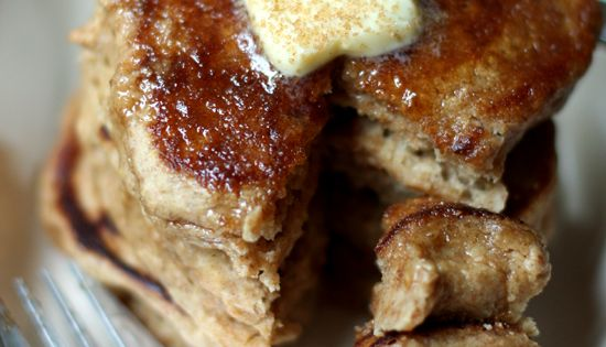 Apple Cider Pancakes topped with Butter, Cinnamon and Sugar....