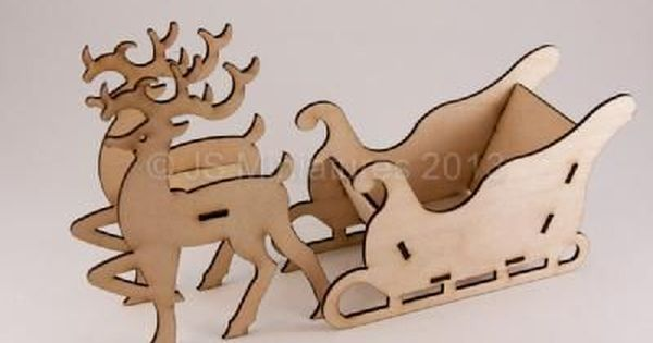 10 x RUDOLPH n22 with ribbon slots REINDEER UNPAINTED BLANK WOODEN SHAPE TAG