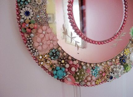 DIY Mirror: Gather broken pieces, old beaded necklaces, and other vintage jewelry