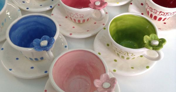 Bright colored child size personalized tea cup and saucer for Teacup party favors