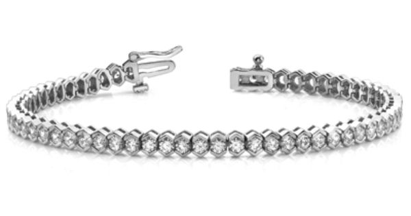 Modern Half Bezel Diamond Bracelet In White Gold 2 Ctw