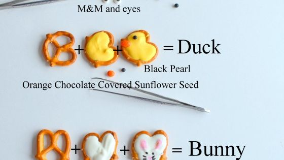 Fun & Adorable Snacks! Ladybug, Duck, & Bunny pretzels with edible markers...