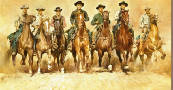 Magnificent Seven Stretched Canvas Print By Renato Casaro At Art Com Western Art The Magnificent Seven Poster Art