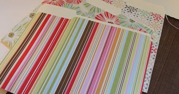 Easy DIY decorative file folders using scrapbook paper ...