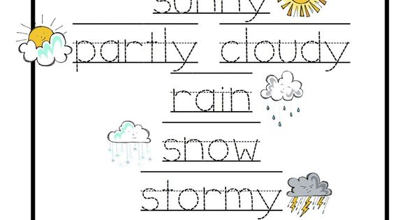 Preschool Printables: Weather