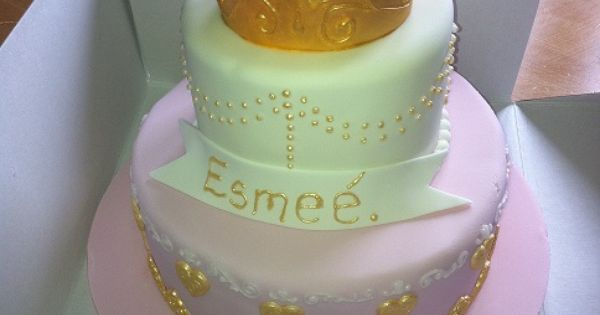 Baby Shower Cakes Liverpool ~ Tier pink princess crown christening cake ice queen