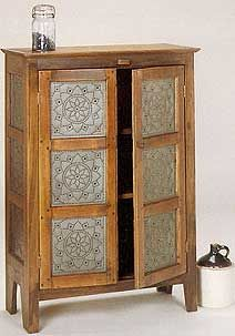 Tin For Front Of Cabinet Featuring Punched Tin Panel Style Rp 1005 Pie Safe Punched Tin Furniture Design Modern