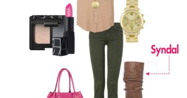 Green pant and beige shirt
